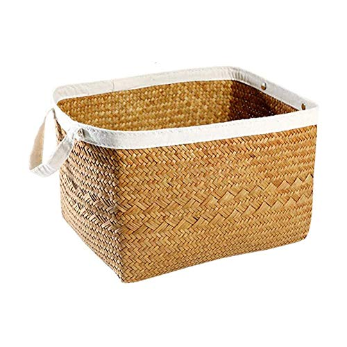 ZHENAO Natural Seagrass Basket with Handle Foldable High Capacity Basket Shopping Storage Bin Durable Laundry Basket Carry Basket Clothes,Toys,Books Storage Transport Crate/M