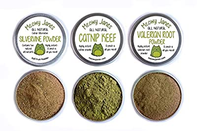 Meowy Janes Catnip Alternative Variety Powder Pack- Catnip Keef, Silvervine Powder and Valerian Root Powder Catnip Powder - Cat Toy