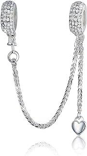 Breloque en argent sterling 925 avec chaîne de sécurité pour bracelet Pandora et cœur en cristal de zirconium transparent ...