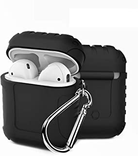 TERSELY[2 in 1] Silicone Waterproof Case with Locking Carabiner Hook for Apple AirPods 1st Gen, Shock Proof Protecitive Co...