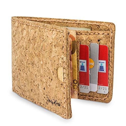 Kork Geldbörse/ Portemonee/ Geldbeutel Vegan mit Geld-Clip & Kartenfächern - HolyKork©