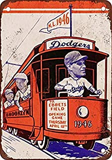 Tengss 1946 Brooklyn Dodgers Vintage Look Reproduction Metal Tin Sign 8X12 Inches