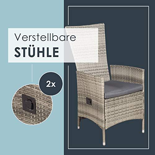 ArtLife Polyrattan Sitzgruppe Rimini Plus 9-teilig grau-meliert | Gartenmöbel Set mit Tisch, 8 Stühlen & Kissen | graue Bezüge | Rattan Balkonmöbel - 4