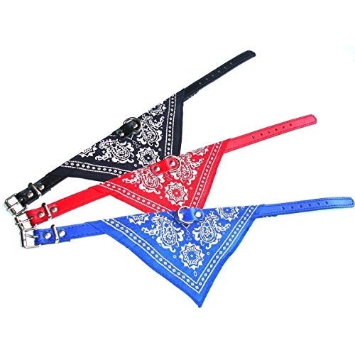 Ducomi Maison Dog halsband verstelbaar met bandana, accessoires voor honden en katten, de buisvormige doek voor huisdieren, L, Set of 3 (Red-Blue-Black)