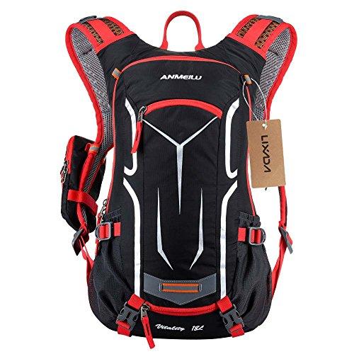 Lixada Zaino da ciclismo, impermeabile, traspirante e leggero con zaino per idratazione vescicale da 1.5 litri per fitness, corsa, escursionismo, arrampicata, sci, mountain bike, trekking rosso