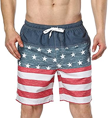 ATTRACO Mens National Day USA Flag Swim Shorts with Pockets Drawstring Swimsuit 36