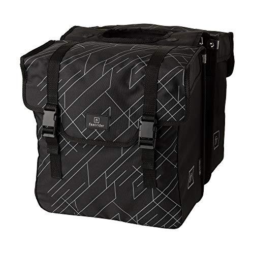 FastRider Dex Doppelte Fahrradtasche für Gepäckträger, 36L Seitentasche Fahrrad, Wasserabweisend, Reflektierend, 100% Recyceltes Polyester - Schwarz