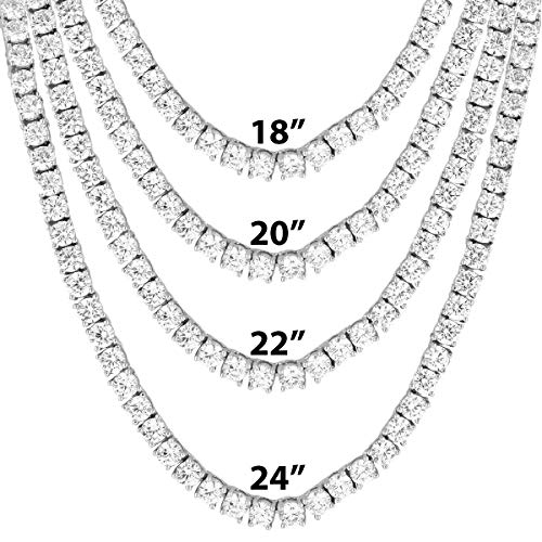 """One Row Tennis Necklace/Bracelet 18-24 Inch Silver Finish Bling 4MM ICY Stone Prong Set Hip Hop (18"""" Chain)"""