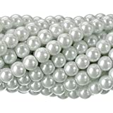 RUBYCA 200Pcs Czech Tiny Satin Luster Glass Pearl Round Bead for Beading Jewelry Making 8mm White