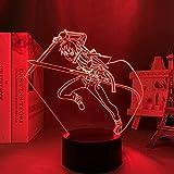 3D Illusion Lamp Sword Art Online Kirito Ilustración,3D LED Luz Nocturna para Niños, 7 Colores Cambian con Control Remoto, Regalos para Niños Niñas