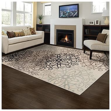 Superior Elegant Leigh Collection Area Rug, 8mm Pile Height with Jute Backing, Chic Contemporary Floral Medallion Pattern, Anti-Static, Water-Repellent Rugs - Beige, 8' x 10' Rug