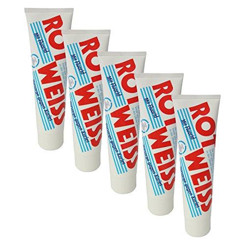 5er Pack Dental Zahncreme Rot Weiss (5 x 100 ml), Zahnpaste, Zahnpasta, Zahnpflege