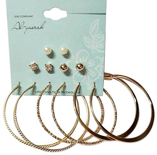 Skyeye 6 Pares de Perlas de la Placa Fijaron Círculo Grande Pendiente de la Personalidad Pendientes Hipoalergénicos Hombres y Las Mujeres Joyería de Moda Pendientes