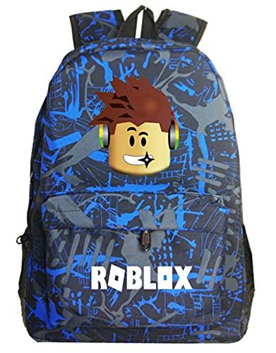 Roblox Kids Mochila Canva Bright Kids Mochila Daypack-Roblox School Bookbag Mochilas para portátiles Niños Niñas Niños Adolescentes Juego Fans Regalo (Color5)
