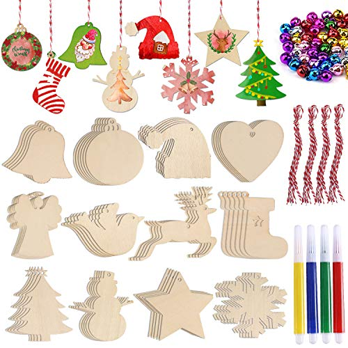 60Pcs Christmas Wooden Ornaments Unfinished, Urradia Wood Slices with Hole for Kids Paint DIY Crafts Christmas Tree Hanging Decoration for Home Holiday Decor, 12 Styles