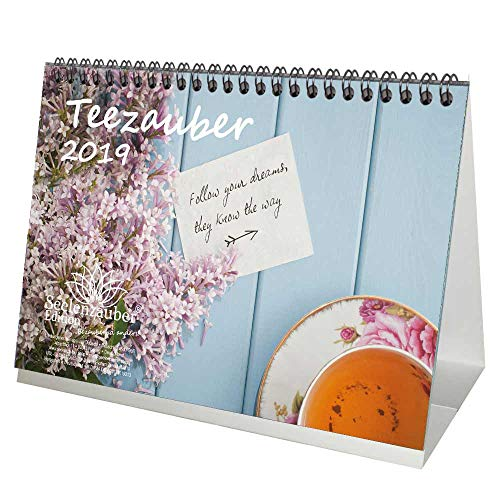 Teezauber · DIN A5 · Premium Table Calendar 2019 · Tea · Relaxation · Gift Set with 1 Greeting Card and 1 Christmas Card · Edition Soul Magic