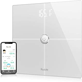 Rollifit Smart Body Fat Scale, Digital Bathroom Weight Scale Sync with Fitbit, Apple Health and Google Fit, Tracks 8 Key Compositions Analyzer, 6mm Tempered Glass, 400 lbs, FDA Approved, White