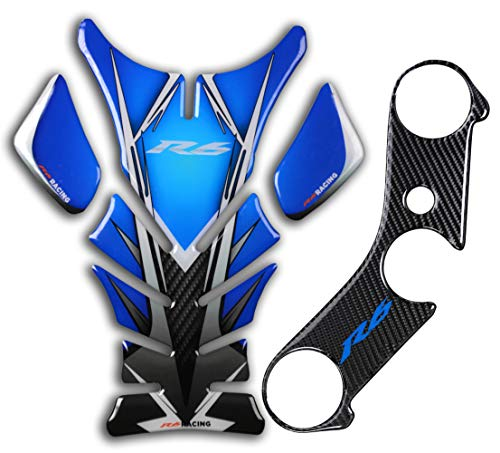 Motorcycle Tank Gas Protector Tank Pad Sticker Fit For YZF R6 600 2006-2016 (Blue)