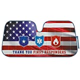 BDK Thank You First Responders Front Windshield Auto Sun Shade, Patriotic American Flag Design, Accordion Folding Sunshade Visor for Car Truck SUV-Blocks UV Rays, Keeps Your Vehicle Cool-58 x 27 Inch
