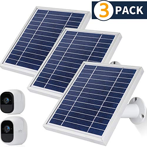 iTODOS Solar Panel Compatible with Arlo Pro and Arlo Pro 2, 11.8Ft Outdoor Power Charging Cable and Adjustable Mount,Not for Arlo Ultra and Arlo Pro3(3 Pack,Silver)