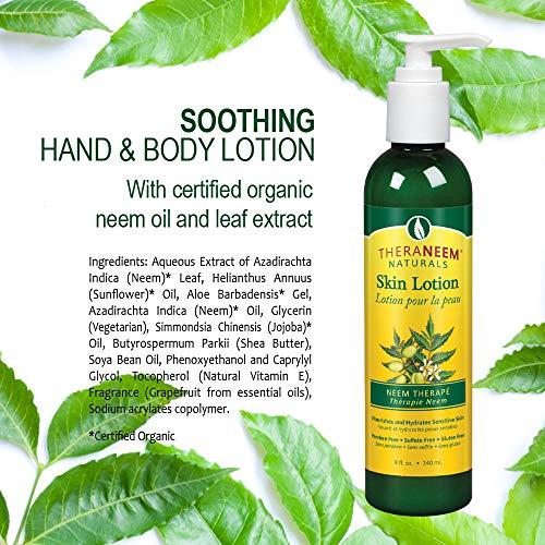 TheraNeem Neem Therap Skin Lotion | Calms, Nourishes and Hydrates Dry, Sensitive Skin with Organic Neem Oil, Vegan, 8oz