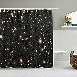 Kgblfd Cortina de Ducha Impermeable,Telescopio Espacial Moderno,Cortinas de baño de poliéster de diseño 3D con 12 Ganchos,tamaño 180 x 180cm