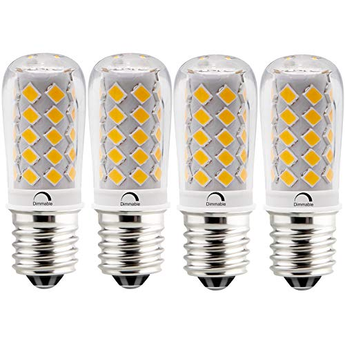 LeMeng 4W Dimmable E17 Led Bulb 40watt Microwave Range Hood Over Stove Appliance Light T7 Replacement,2700K Warm White,Pack of 4