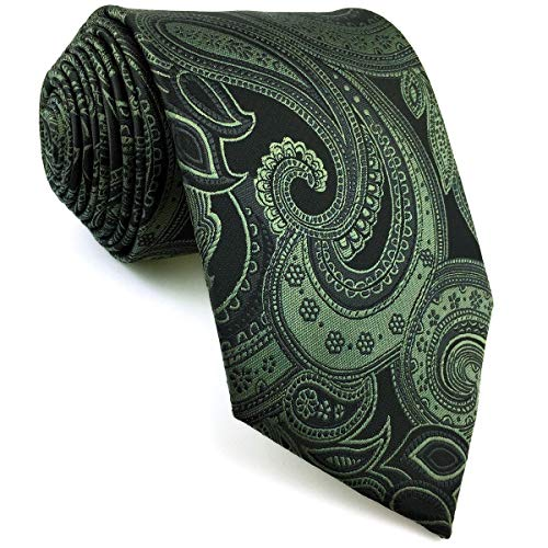 Shlax&Wing Herren Seide Krawatte Mode Grün Geometrisch Blumen Extra lang 160cm