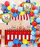 Jollyboom Decorazioni per Feste da Circo Palloncino Kit Ghirlanda ad Arco con Palloncini da Circo Palloncini in Lattice Blu Giallo Rosso per Tema Carnevale Compleanno Baby Shower