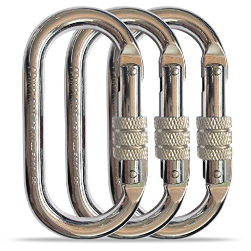 O-Shaped Steel Climbing Carabiner (25kn=5600lb), Heavy Duty Large Locking Carabiner Clip, CE Rated, Great for Rock Climbing Rappelling Camping Rigging Anchoring Arborist (O Shape Chrome, 3 Pack) …