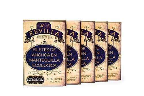 Anchoas con MANTEQUILLA Revilla - Pack 5 hansas 120g. Anchoas de Santoña...