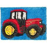 Latch Hook Alfombra Kits Patrón De Camión Rojo Alfombra De Felpa Alfombrilla De Bordado Kit De Fabricación De Alfombras DIY Decoración,Blue Red,52x38cm/20x15 in