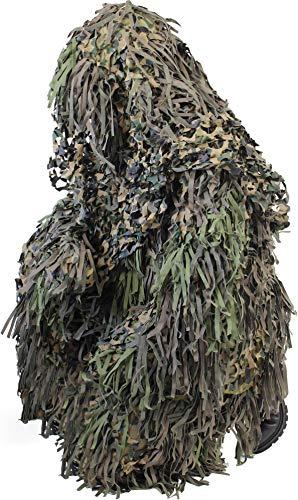Tarnanzug Ghillie Suit Jackal (Jacke, Hose mit Hosenträgern und Kopfbedeckung) Farbe Woodland Größe M/L