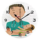 ALUONI Round Wall Clock A Male Doctor Wearing A Green Scrub is Hugging A Baby 10 inch Morden Wall Clocks Silent Round Decorative Clock IS060553