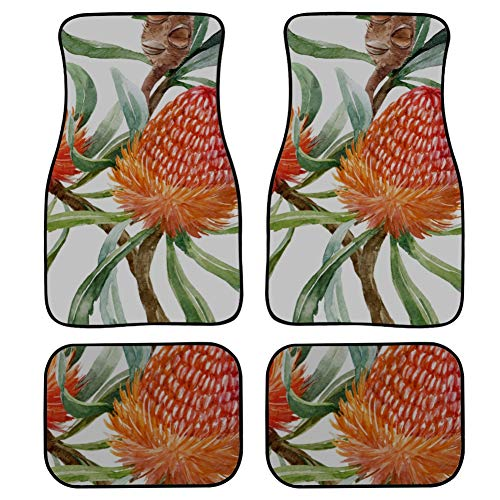 LMFshop 4 Pieces Carpet Car Australian Orange Flowers Banksias Abstract Car Floor Mats Front & Rear Non-Slip Carpet with Rubber Backing for Car SUV Van & Truck