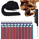 DKAF 30 Pcs 3 Sizes Flexi Twist Foam Hair Curling Rods with Hair Dryer Bonnet Attachment and Rat Tail Comb, Soft No Heat Hair Rods Rollers(Multicolor)