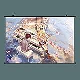 CKH Decoration 絵画ハンギング4月のポスターかおりMiyazono&有馬Kouseアニメ壁紙ウォールスクロールポスターステッカーであなたの嘘40×60センチメートル(ReWwaA12230)