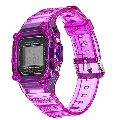 HGGFA Correa de reloj de resina TPU para Casio G-Shock DW-5600 GW-M5610 M5600 GLX-5600 Refit pulsera de repuesto accesorios (color de la correa: morado, ancho de la correa: 5610)