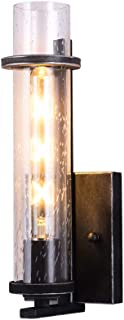 BETLING Wall Lamp Sconce Light Bathroom Vanity Lighting, Antique Black with Clear Seeded Glass Shade