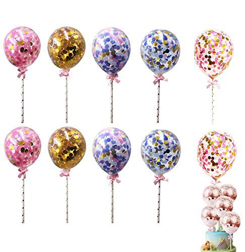 Cake Topper Bautizo,Cake Topper Globos,Confetti Balloon,Globos Brillantes,Globos con Confeti,Cake Topper Boda,Decoración para Tartas,Cake Topper,Globos de Látex de Confeti