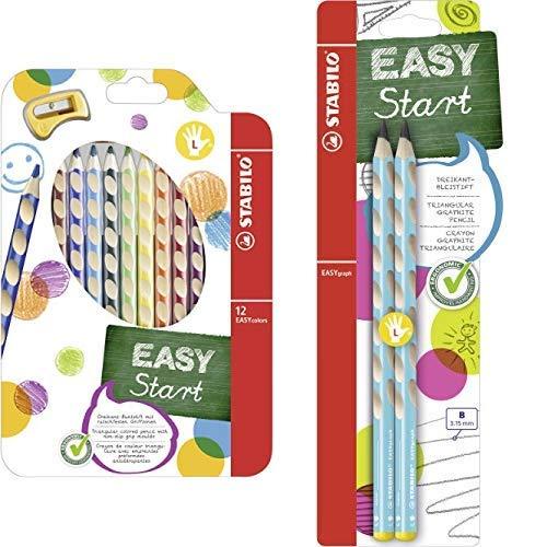 Ergonomischer Buntstift für Linkshänder - STABILO EASYcolors - 12er Pack mit Spitzer - mit 12 verschiedenen Farben & Dreikant-Bleistift - STABILO EASYgraph in blau - Härtegrad B - 2er Pack