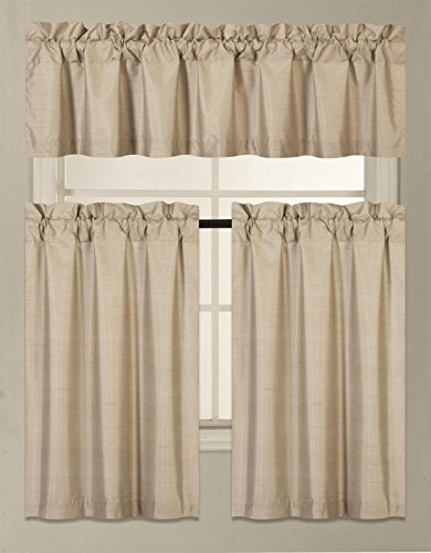 GorgeousHomeLinen (K3) 3 PC Taupe Kitchen Window Valance Tier Curtain Faux Silk Panels Lined Thermal Room Darkening Insulated Blackout Set