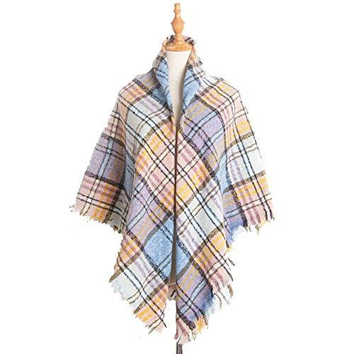 miwaimao Schals für Damen, modisch, Winter, warm, Tartan, lang, mit Quaste, Gelb, Blau, Gelb