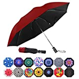 MRTLLOA Inverted Umbrellas Reverse Folding Umbrella Windproof UV Protection Compact Umbrella for Travel Outdoor Daily Use (Wine Red)