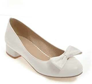 BalaMasa Womens Solid Bows Travel Urethane Pumps Shoes APL10395