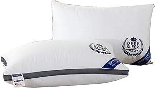 Almohada, soporte blando, cuidado de la salud Protección del sueño Vértebras cervicales, Almohada de terciopelo de plumas hipoalergénicas de altura ajustable lavable, paquete de 2, blanco, 45 * 72 cm