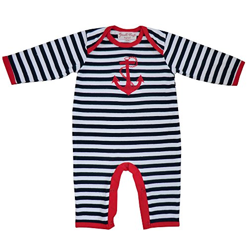 Powell Craft Bébés Garçons Ancre Grenouillères. 0-12 Months.Red - Rouge, 0-6 Mois