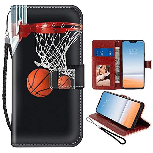 Naikuyi - Custodia a portafoglio per LG G7 ThinQ, con rete da basket, scomparti per carte di credito, custodia a portafoglio con scomparto per documenti