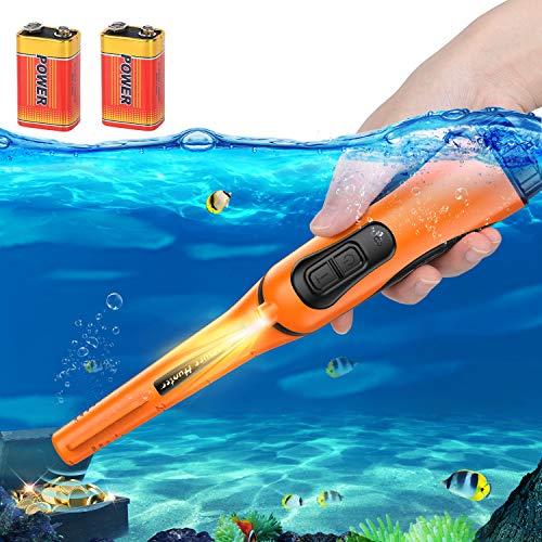 Metalldetektor-Pinpointer Voll IP68 Wasserdicht Bis zu 10 Meter Unterwasser-Metalldetektorstab 360 ° Ultraempfindlich mit Holster Vibration Beep Gold Pinpointing für Erwachsene Kinder (Orange)