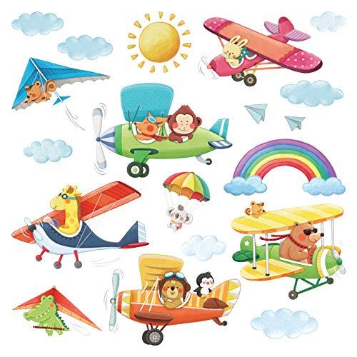 DECOWALL DS-8026 Biplani con animali con il Deltaplano Adesivi da Parete Decorazioni Parete Stickers Murali Soggiorno Asilo Nido Camera da Letto per Bambini (Piccolo)